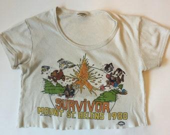 70s 80s Mt St Helens Volcano Crop Top Shirt