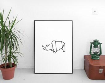 Animal Prints,Rhino Art, Grey Rhino Print, Printable Wall Art, Rhino Prints, Scandinavian Art, Modern Art Print, Geometric Home Decor