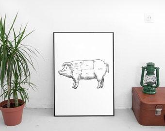 Pork Print, Pig Art, Pig Meat, Pork Meat Print, Meat Print, Meat Chart, Pig Meat Chart, Meat Cuts, Pig Meat Cuts, Pork Cuts, Pork Chart Art