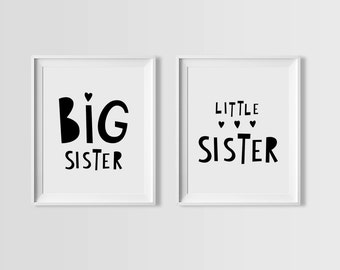 Printable quote set, Big Sister Little Sister, Scandinavian print, printable wall art quotes, affiche scandinave nursery art printable decor