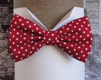 Cerise, white spots, pre tied or self tie bow tie, bow tie for men, men's bow tie