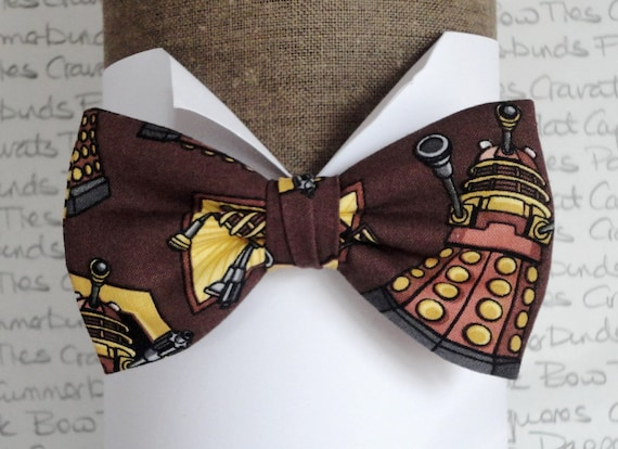 Dr Who Bow Tie, Dalek print bow tie, bow ties for men, brown bow tie