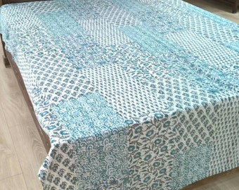 Cotton Bedcover  Patchwork hand block print kantha threadwork  bedspread throw for home from Jaipur