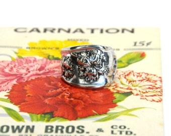 1908 ring, spoon ring, carnation ring, ornate ring,  antique ring