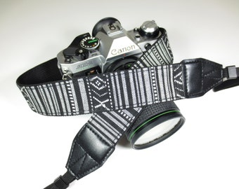 Camera Strap - Woven Tribal Black and White - DSLR / SLR
