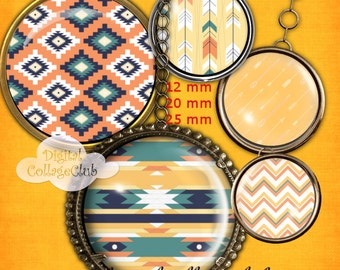 Aztec Digital Collage Sheet 12mm, 20 mm and 25 mm (1 Inch) Digital Images for Jewelry Making, Bottle Caps, Cufflinks, Scrapbooking