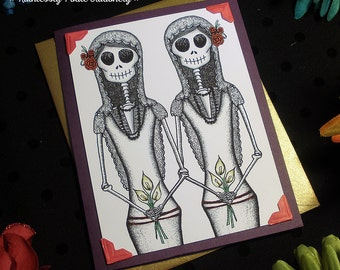 Bride + Bride in Gilded Plum / Calavera Gay Wedding Handmade Greeting Card