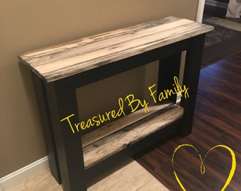 Beautiful Entry/Buffet/Hall/TV Stand/Library Table with black frame and barnwood tops