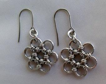 Flower Earrings, Japanese 12-2 Earrings, Chainmaille Earrings, Chainmaille Flower Earrings, Unique Earrings, Dangle Drop Earrings, Spring