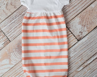 White and Coral Striped Baby Gown Baby Shower Gift~ Sizes Preemie, NB, 3 m, 6m~ Personalized Glittery Vinyl or Embroidery