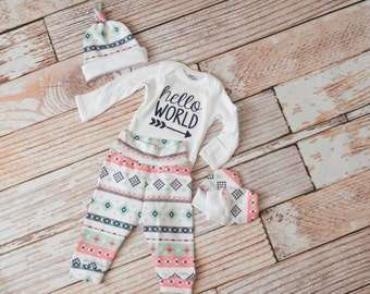 Newborn Coming Home Baby Bodysuit, Hat, Scratch Mittens Set Aztec Print with Coral, Mint, Grey, and Navy+ Hello World Baby Bodysuit