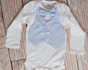 Baby Boy First Easter Vest Bodysuit with Bowtie/ Blue Seersucker/