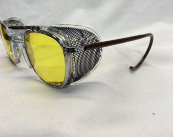 True Vintage American Optical AO Safety Glasses Dr. Holtzmann Inspired Yellow Lens Side Shields