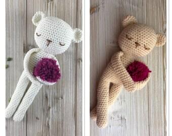 Pretty TEDDY, made to order, cotton or acrylic yarn, crochet teddy, crochet toy, teddy, child gift, newborn birth gift, teddy crochet cotton