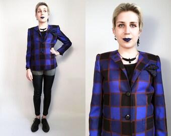 80s Clothes/ Plaid Jacket 1980's Vintage Plaid Jacket Wool Blazer Blue Jacket Blue Plaid Womens 80s Clothes Size 4 Petite