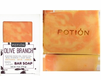 OLIVE BRANCH Soap Bar ( Real Pumpkin + Goats Milk)