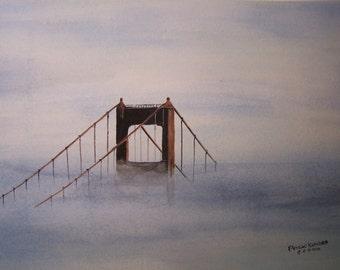 watercolor painting,BRIDGE PAINTING, golden gate bridge,painting of bridge, misty bay painting, bridge in fog,bridge in mist,art show sale