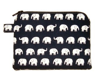 Dark Navy Elephant Zipper Pouch - small Coin Purse - Elephant Purse - Animal Purse - Kawaii Purse