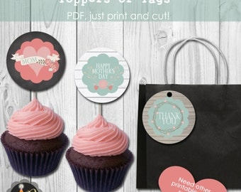 Instant Download Rustic Flower Mother's Day Tags or Cupcake Toppers