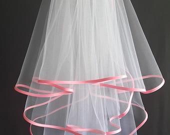 White Wedding Veil, Three Layers, Pink Satin Edging.