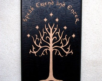 Moria The Lord of the Rings inspired Speak Friend and Enter pyrography art