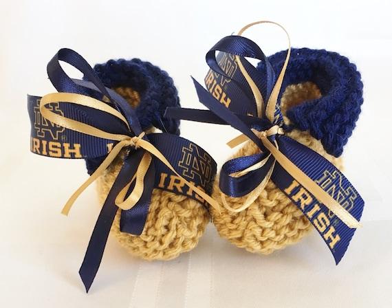 Handmade Baby Gifts Ireland : Notre dame fighting irish fans handmade baby booties