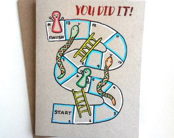 Snakes and Ladders Congratulations Card - Handmade Graduation Celebration Congrats Card with Foiled Lettering