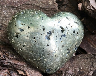 Pyrite w/ Hematite Heart 64 mm, 206 grams