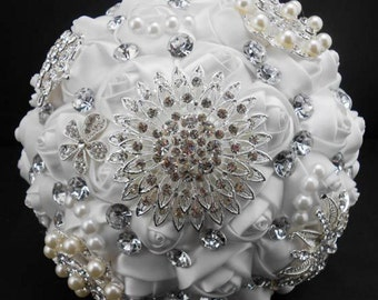 White Bridal Bouquet - Roses Pearls Crystals