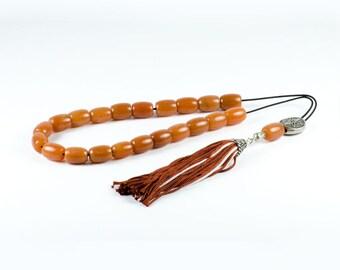 Carnelian Gemstone Worry Beads Greek Komboloi | Star of Vergina Metal Spacer | Brown Tassel | Prayer Beads Cornelian