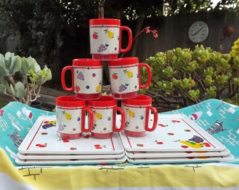 Fun Set of 6 Snack Insulated Mugs and Trays designed by David Davir for Thermo Serve Made in the USA fruit grapes apples cherries