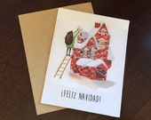 feliz navidad christmas card spanish card cards  in espanol holiday card greeting card cute card
