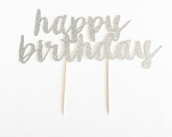 Glitter 'happy birthday' Cake Topper for Birthday.