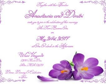 Elegant Purple Lavender Violet Flower Wedding Invitation Calligraphy Flourish - DIY Print Digital Custom Invitation