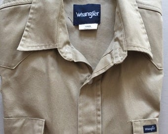 WRANGLER Khaki Heavy Cargo Work Shirt 17 x 35 Vintage Work Shirt Men's Heavy Duty Size Large