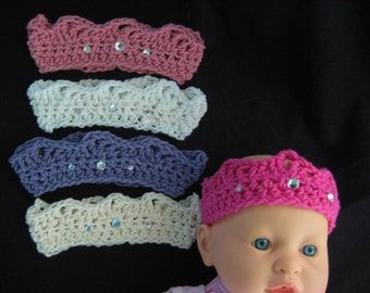 Princess Baby Crown Hat with Jewels; Newborn Baby Cotton Crown; Crochet Baby Crown Hat; Infant Baby Crown (0-6 mo size)