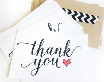 Thank You Flat Cards - Red Hearts