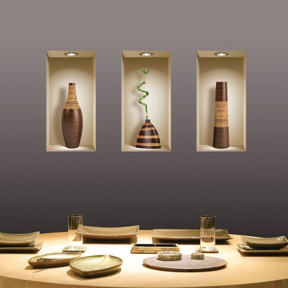livraison gratuite set 3 brown vase sticker 3d art magic. Black Bedroom Furniture Sets. Home Design Ideas