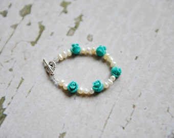 Turquoise Rosette and Pearl Bracelet
