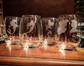 The Little Mermaid Etched  Stemless Wine Glasses