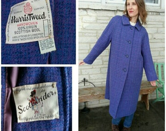 size M L XL vintage 60s wool violet periwinkle purple Harris Tweed coat / Dyed Spun Handwoven Finished in Outer Hebrides of Scotland