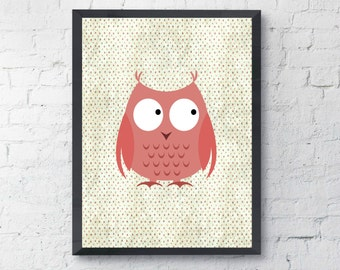 Owl Nursery Print, Pink Nursery Print,  Pink Kids Wall Art, Pink Nursery Decor, Polka Dots Print, Nursery Wall Art, Kids Art Print