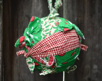 Button green and red Fabric Rag Ball Christmas Tree Ornament ~ Holly fabric rag tie