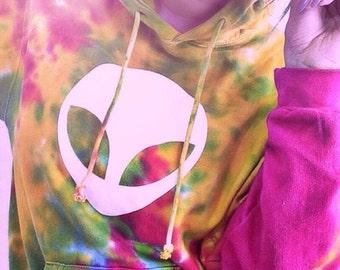 Alien Tie Dye Hoodie • Women's Hoodie Sweatshirt • Tiedye Hooded Sweatshirt ««« (basic, td pullover) « cd877 « rainbowmix