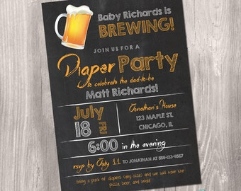 Diaper Party Invitation, Beer and Diaper Party Invitation, Diaper Beer Pizza Invitation, Diaper Baby Shower Invitation, Printable Invitation