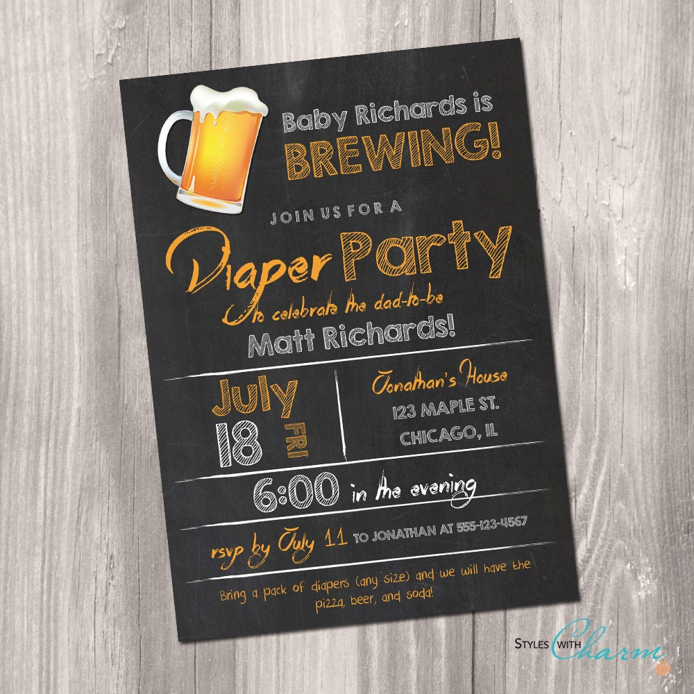 diaper party invitation beer and diaper party invitation, Party invitations