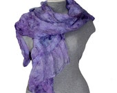 Nuno Felted Scarf Lilac  Felted Scarf Felted Scarf Soft Felt Violet Shawl Nuno Felted Shawl Lavender Color Gift for Her Ready to Ship