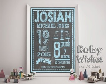 Personalised Printable Chalkboard Birth Details or Birth Announcement for a Baby A4 size. Great welcome gift!