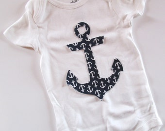 Baby Applique One Piece , Anchor  Baby Bodysuit , Baby bodysuit,  Baby Shirt, Funny Baby Cothes