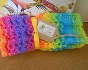 Rainbow fingerless gloves  .ladies.teenagers...Handknitted..knit. wrist warmers.